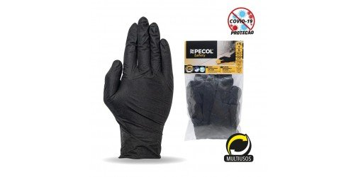 Blister with 10 disposable gloves Nitrile black PM 525 - PECOL